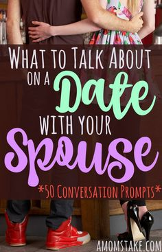 You're happily married, you love your spouse, but then you find yourself one day staring across from each other at a night out to dinner without much to talk about. Use one of these prompts to kickstart the conversation again and kindle your relationship. Reminisce About the Past 1. What was your favorite date we've ever done? 2. What details