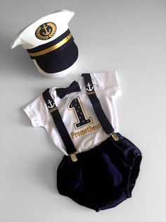 This 5 piece elite ship captain outfit will give your little man the authority he deserves! It includes handmade hat, spenders, bowtie, onesie & nappy cover and is adorable for you next photo shoot or upcoming birthday party. I hope you like cute, because this is adorable! HOW TO ORDER: All you need to do is purchase the current listing of the outfit you want, select the size (you will be promoted to do so when you add to cart) and then in notes to seller in the checkout cart, just put t...