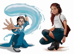 "Katara❄️ Modern Version  Thank you to everyone who gave  the suggestions for what I should put on her t-shirt  I went with Bruce Lee's quote ""Be Water, My Friend""   Thank you for the likes and comments on my recent posts! I really appreciate it☺️"