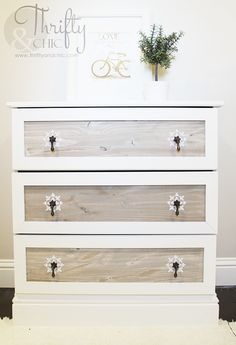 Emboss a pattern using spackle around your drawer pulls for an extra-fancy look.
