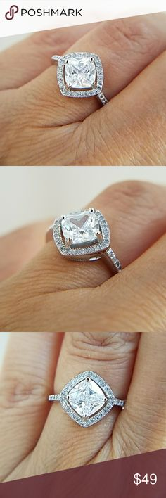 14k Gold plated Diamond cut 1.5ct Engagement Ring New. 14k Gold plated over Sterling silver Engagement Ring Available in sizes 5 6 7 8 9 Item#RS6629-11 Jewelry Rings