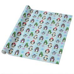Christmas Penguins Snowflakes Blue Gift Wrap - christmas wrappingpaper xmas diy holiday