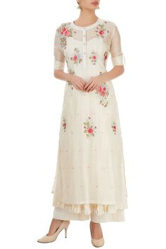 Shop Prama by Pratima Pandey White palazzo set with thread embroidery , Exclusive Indian Designer Latest Collections Available at Aza Fashions Latest Kurta Designs, Kurta Designs Women, Salwar Designs, Kurti Designs Party Wear, Dress Neck Designs, Designs For Dresses, Blouse Designs, Churidhar Designs, Neck Designs For Suits