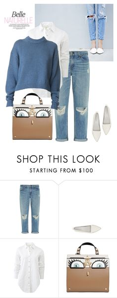 """Blue~White~Beige~Cream~Casual"" by idocoffee ❤ liked on Polyvore featuring rag & bone, Jeffrey Campbell, Giancarlo Petriglia and TIBI"