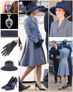 LONDON 09 March - WKW ♛ Michael Kors SS14 Indigo Swing Coat ♥ Rupert Sanderson 'Malory' Pumps ($675) ♥ Stuart Weitzman 'Muse' Clutch in Navy ($370) ♥ G Collins & Sons Tanzanite & Diamond Pendant Earrings ♥ G Collins & Sons Tanzanite & Diamond Pendant Necklace ($12475) ♥ James Lock & Co 'Tiffany' Drop Brim Hat ($395) ♥ Cornelia James 'Imogen' Wool Gloves in Navy ($85) ♥