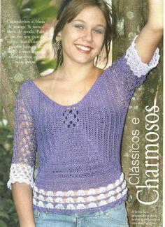 andrea croche: blusa de croche com grafico