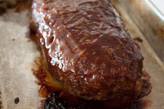 Barbecue meatloaf out of the oven