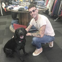 @Retrograde Clothing on IG          ,,Had a visit from Joe Gilgun in our Manchester store today! Here he is with our shop dog Frodo. Thanks for popping in Joe, great to meet you and glad we were able to help you find the vintage Levi's jeans you were after!,,