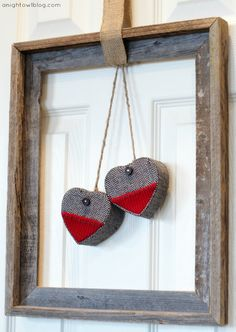 Just an open frame, twine, burlap and some heart ornaments to make this Easy Valentines Framed Heart Wreath by { anightowlblog.com }