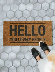 Hello You Lovely People Doormat, Home Accessories, Hello You Lovely People Doormat. Buy online now from Rose & Grey, eclectic home accessories and stylish furniture for vintage and modern living. Vintage Home Accessories, Vintage Home Decor, Hello You, Geometric Rug, Contemporary Rugs, Floor Design, Soft Furnishings, Curb Appeal, Decorating Your Home