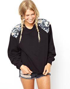 vintage sweatshirt with oriental print insert