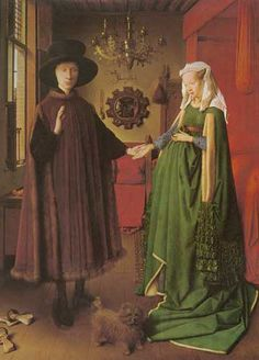 Jan van Eyck Portrait of Giovanni Arnolfini and his Wife art painting for sale; Shop your favorite Jan van Eyck Portrait of Giovanni Arnolfini and his Wife painting on canvas or frame at discount price. Renaissance Kunst, Renaissance Paintings, Renaissance Artists, Italian Renaissance, Victorian Paintings, Renaissance Costume, Victorian Art, Caravaggio, Arnolfini Portrait