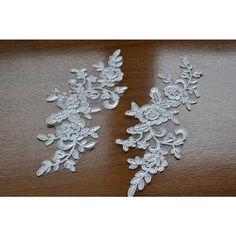 1 Pair Bridal Lace Applique DIY Trim Appliques in Beige for