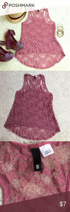 Lace Swing Tank H&M rose color tank top. Razor back, loose fit bottom. Size 8 but runs more like a 6. H&M Tops Tank Tops