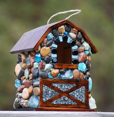 Mosaic birdhouse modern farmhouse aqua blues and rustic birdhouse blue mosaic colorful stone bird house garden decor happy always mosaic art The entrance done in aqua and black onyx The rest is made from recycled and organic materials I have collected in the North West such as