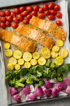 Easy one pan meal packed with nutritious ingredients and lots of color! Perfect for busy weeknights. A delicious spin on salmon!