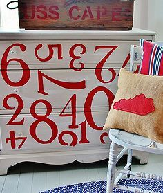 painted dresser with numbers, painted furniture, Here s the finished dresser with numbers creating a fun vintage look