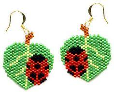 Ladybug On Leaves beaded Earrings | Flickr - Photo Sharing!