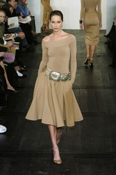 Ralph Lauren 2004. There's a circular skirt patten in sewing that could be adapted to achieve this look.