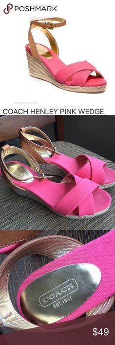 Coach Wedges Pink Henley Sandals Size 8 EUC Coach Wedges Pink Henley Sandals Size 8 EUC Coach Shoes Espadrilles