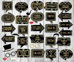 35 1920s Party Props Gatsby Printable photobooth props art