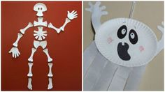 Halloween crafts with paper plates.