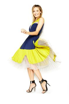 """Put a spring in your step with a color-blocked, pleated dress: the perfect pick for Friday."" —Lubov Azria"
