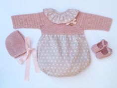Baby Clothing Set: Romper, Collar, Bonnet And Booties Get the look: This complete baby clothing set includes- Romper With Crochet Bodice Ruffle Collar Bonnet Booties Items can be bought separately, please visit the other clothing sections in my shop. The baby romper has elastic leg openings for a comfortable fit. Bodice, bonnet and booties are made in a soft 100% anti-allergenic cotton, perfect for babies. All items are finished with natural mother of pearl buttons, satin bows and a dec...