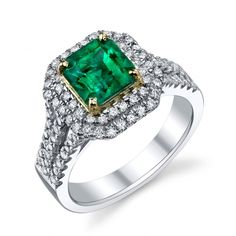 Emerald and Diamond Halo Ring Engagement Rings Colored Stones - Designer Engagement Rings, Fine Jewelry & More. Serving San Carlos, Redwood City, Belmont, Foster City, San Mateo & the entire bay area.
