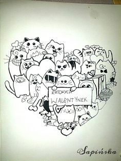 Doodle by Magdalena Sapińska. #Doodle #cats #cat #cute