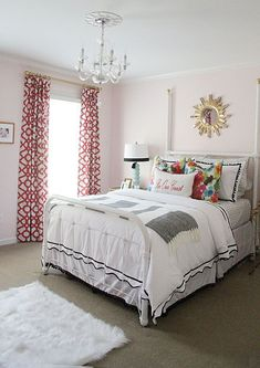 Mallory Fitzsimmons reveals the final transformation of her guest room, featuring a bold refinished bamboo chest as seen in Better Homes & Gardens. Girls Bedroom, Guest Bedrooms, Dream Bedroom, Home Bedroom, Guest Room, Bedroom Decor, Girl Nursery, Bedroom Inspo, Estilo Kitsch