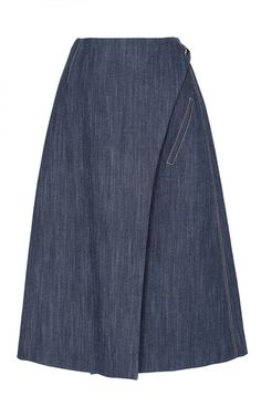 This **Adam Lippes** skirt features a wrap style with a knee length hem.