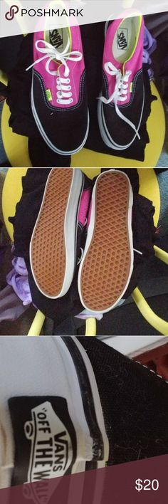 Woman's Van Off the Wall Sneakers Almost new black pink and yellow Van Off the Wall Sneakers. Worn once. Woman's size 11 or mens 9.5. No wear on tread what's so ever. Smoke free home. Vans Shoes Sneakers
