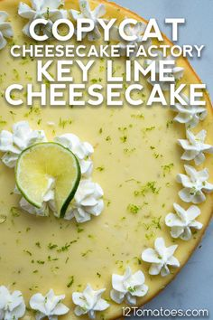 This incredible cheesecake is easier to make than it looks! Key Lime Pie Cheesecake, Cheesecake Factory Recipes, Pie Dessert, Dessert Recipes, Key Lime Desserts, Lime Recipes, Copycat Recipes, Keylime Pie Recipe, Baking Recipes