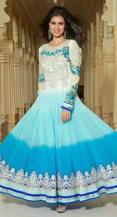 Luscious Deep Cyan Blue, Off White  Pale Cyan Blue Salwar Kameez