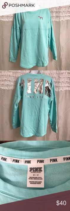 LOWEST! PINK VS Pull Over Really cute Top with silver text. In perfect condition. Worn 2 times. Thick like a sweatshirt. PINK Victoria's Secret Tops Tees - Long Sleeve