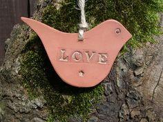 Terracotta LOVE bird Hanging