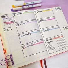 Weekly bullet journal spread, such gorgeous pastel colours for a nice minimalist. - Journal - Weekly bullet journal spread, such gorgeous pastel colours for a nice minimalistic appearance - How To Bullet Journal, Bullet Journal Notebook, Bullet Journal Aesthetic, Bullet Journal Inspo, Bullet Journal Spread, Bullet Journal Ideas Pages, Journal Pages, Bullet Journal Sections, Bullet Journals