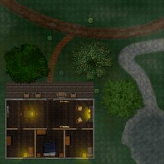 A cabin in the woods Fantasy landscape Fantasy map Cabins in the woods