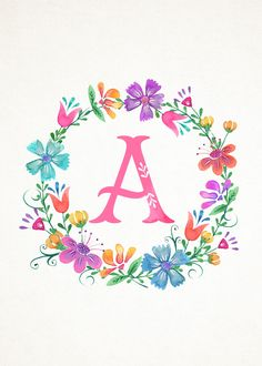 Free Printable Whimsical Watercolor Monograms – The Cottage Market Kostenlose druckbare skurrilen Aquarell Monogramme – The Cottage Market Images and printables Watercolor Lettering, Hand Lettering, Watercolor Flowers, Watercolor Art, Wreath Watercolor, Floral Letters, Floral Wall, Monogram Wreath, Letter Art