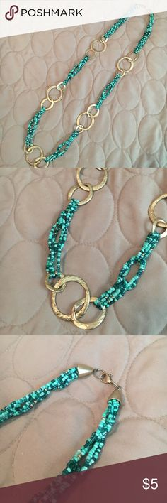 Beaded Gold Ring Necklace Turquoise and teal beads with Faux gold rings. Statement Necklace Jewelry Necklaces