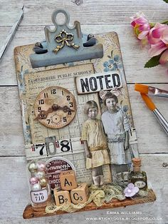 That's Life: Back To School... Mixed Media Boxes, Mixed Media Collage, Funky Painted Furniture, Decoupage Furniture, Clipboard Crafts, Timmy Time, Altered Art, Altered Books, Altered Canvas