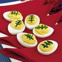 For some football? I know we are at our house! My husband has been gearing up for a month. It's only two weeks away. Here is a cute little deviled egg recipe perfect for your tailgates or home viewing parties....