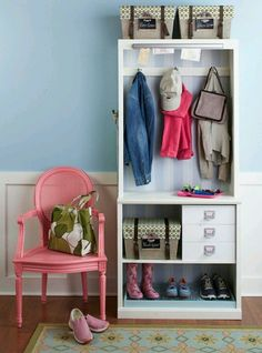 Book shelf for entryway or mud room organization