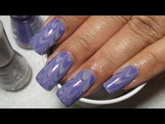 Purple & Grey Water Marble Nail Art Tutorial (Water Marble March 2013 #2)