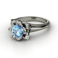 AWESOME lotus ring!  Round Black Diamond 14K White Gold Ring with Diamond - lay_down