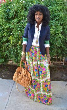 Style Pantry | Navy Blazer + White Button Up Shirt + DIY Floral Maxi Skirt
