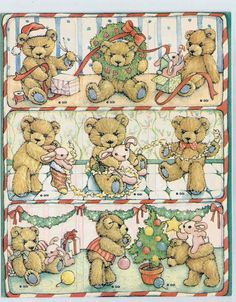 Stickers Vintage 2 sheets Gibson Teddy Bears Christmas Scenes A1-13 #GibsonGreetings #Stickers