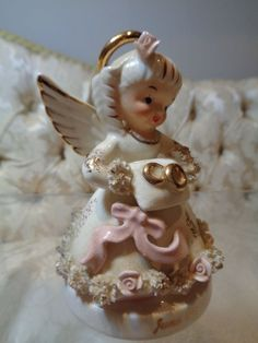 Rare Vintage Napco 'June Angel' w/applied roses and sash #S406N  | eBay