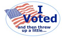 """Express your displeasure in that post-ballot-box selfie with this sarcastic """"I Voted"""" sticker!"""